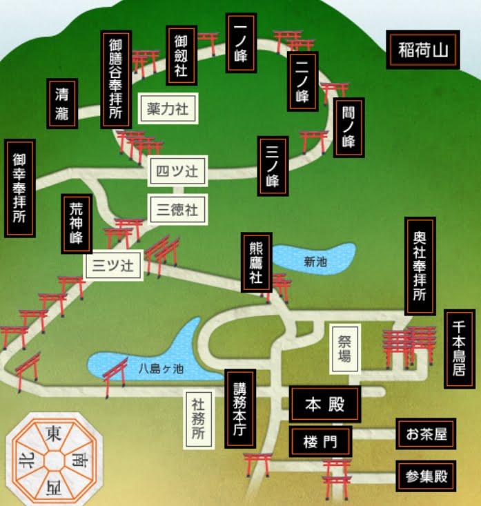伏見稲荷大社・千本鳥居は、境内奥の稲荷山の左側、中腹に並んでいます。