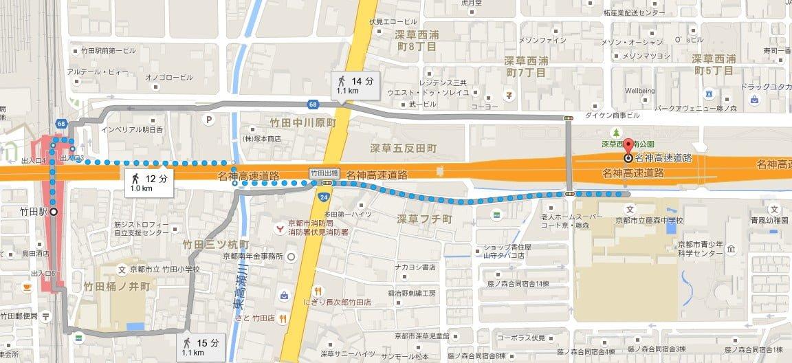深草バスストップから竹田駅までの地図
