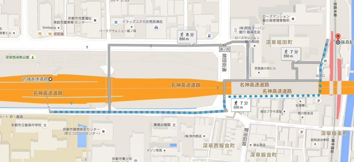 深草バスストップから藤森駅までの地図