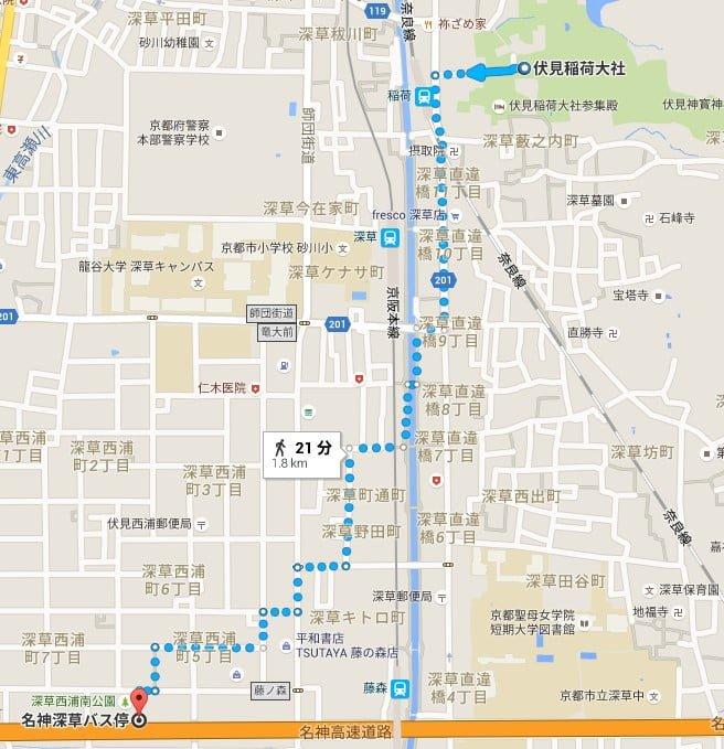 バス(高速バス)で大阪から伏見稲荷大社までのアクセス・行き方