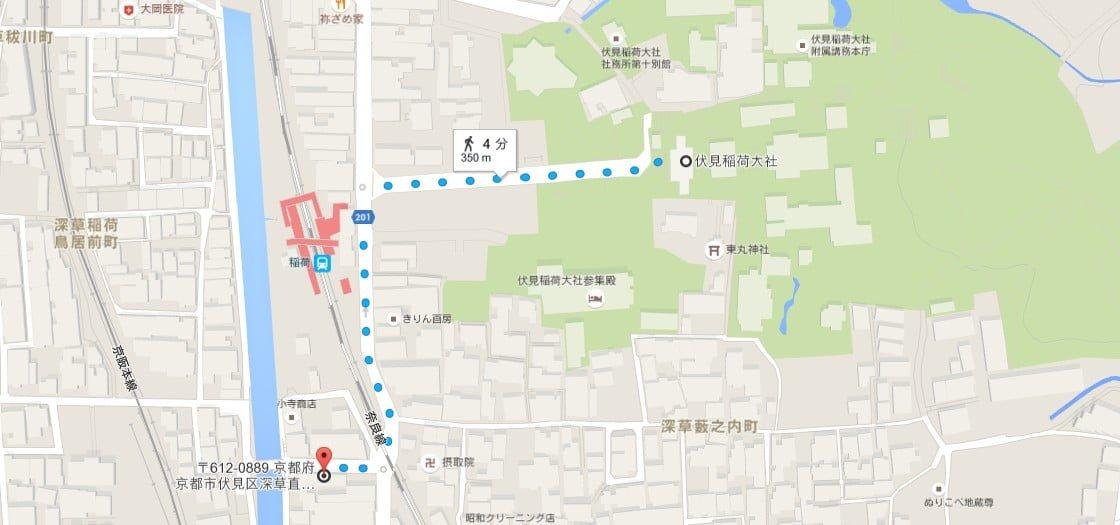 「パークステーション24伏見稲荷」から伏見稲荷大社へのアクセス・行き方