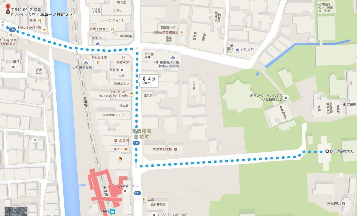 ビットイン伏見稲荷駅前から伏見稲荷大社までの所要時間・距離
