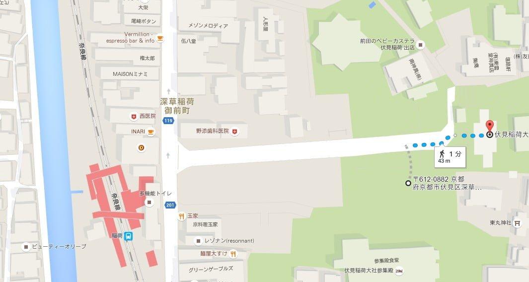 伏見稲荷大社・第一駐車場から伏見稲荷大社へのアクセス・行き方