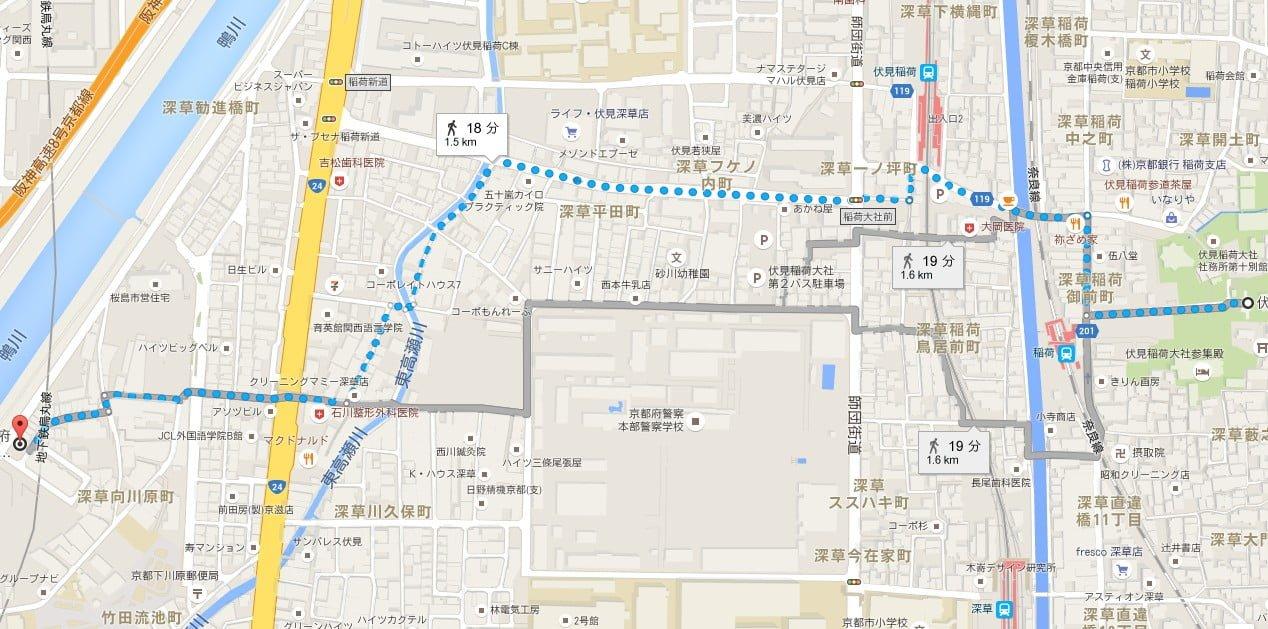 伏見稲荷大社・第三駐車場から伏見稲荷大社へのアクセス・行き方