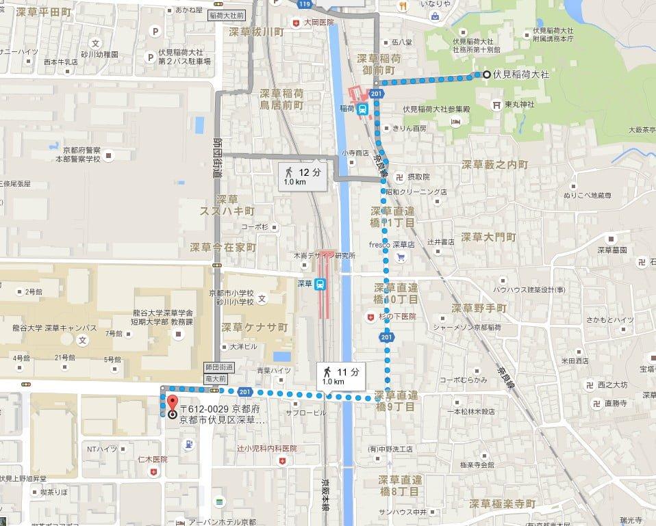 「タイムズ龍谷大学南」から伏見稲荷大社までの所要時間・距離