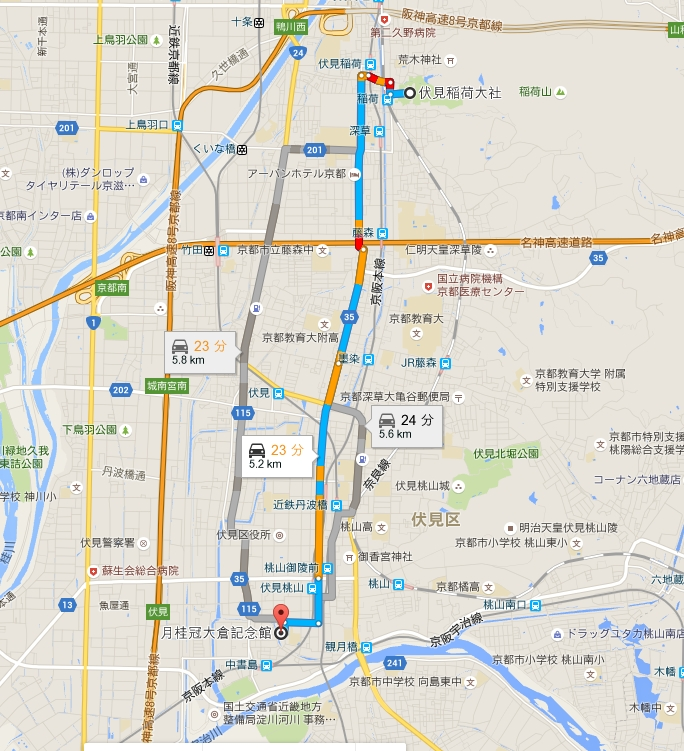 伏見稲荷大社から月桂冠大倉記念館へのアクセス・行き方「バス・電車・車・タクシー」