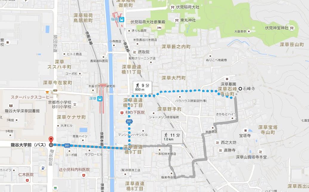 龍谷大学前から石峰寺アクセス